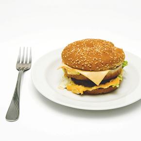 生活習慣病|お皿に乗ったハンバーガー
